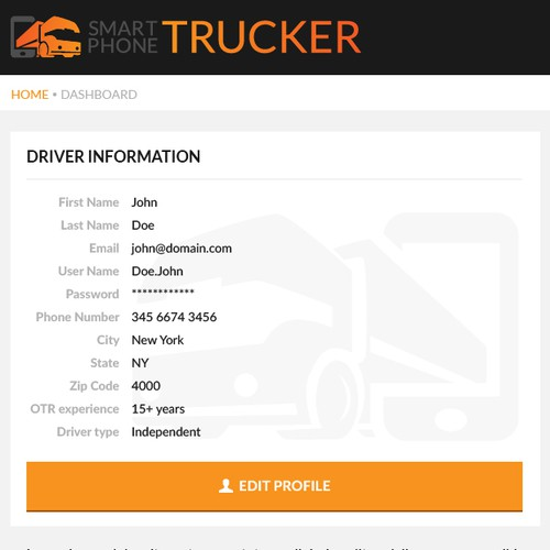 Dashboard for trucking company