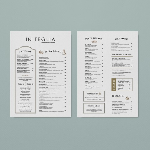 Vintage Menu Design for Upscale Restaurant