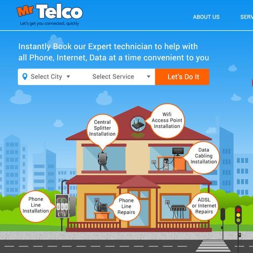 Mr Telco Webpage Header/Hero Image! Clean & Fun Illustrator