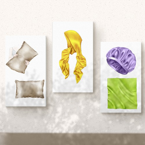 Modern illustrations for hair protectant accessories
