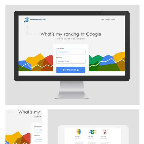Design a web interface for an innovative Google rank tracking SaaS app