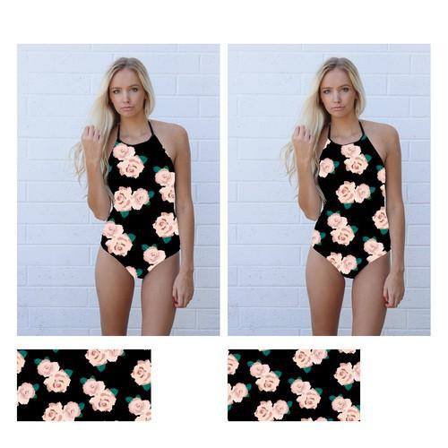 Florales Textil-Design für Bademode