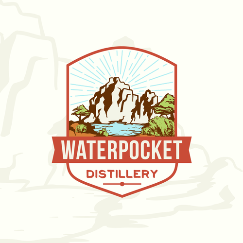 Create a classic logo design for a Utah distillery in canyon country.