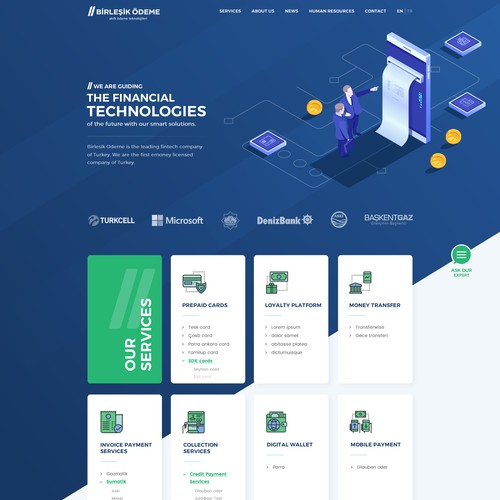 Fintech company needs to re-design website