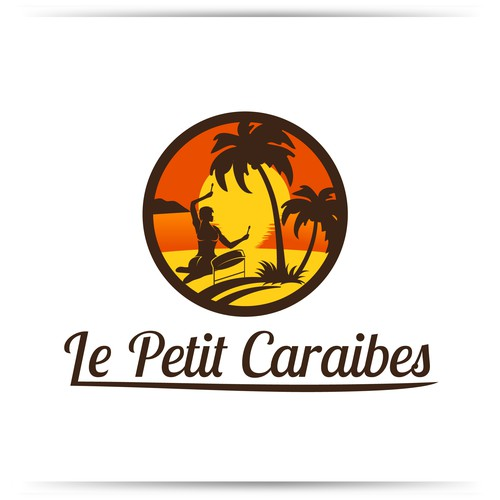 Create sunset island logo for Caribbean restaurant Le Petit Caraibes