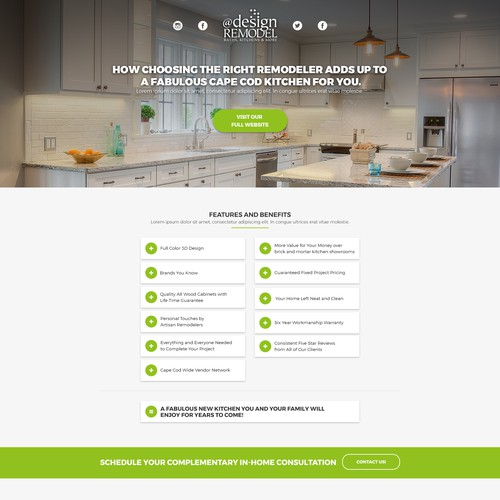 Landing Page for Remodel Company