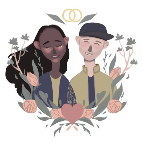 illustration of lovers