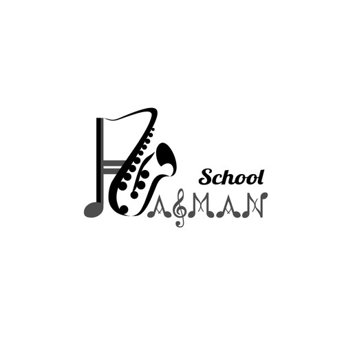 Playful logo concept for saxophone school