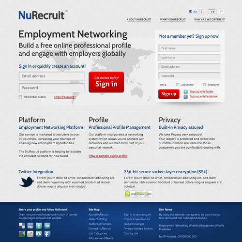 NuRecruit Homepage Design