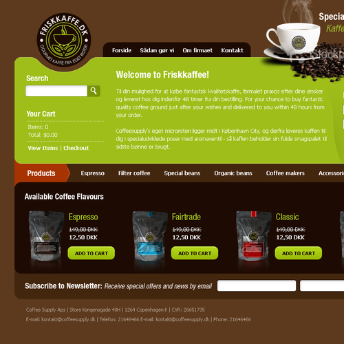 Coffee company needs redesign of existing web shop