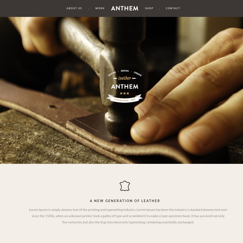 Create an ultra modern design for Anthem Leather!