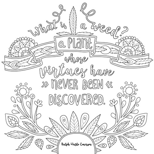 Black&White illustrations, deailed adult coloring page