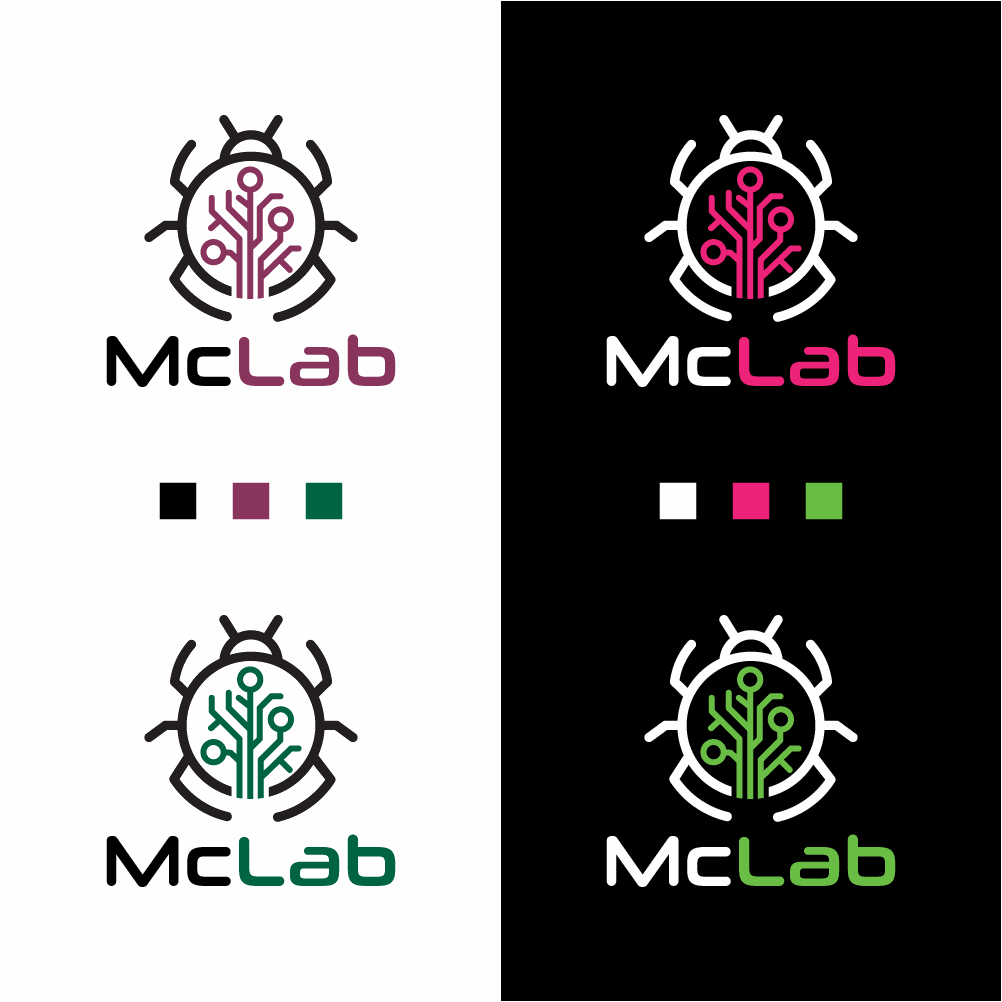 Create a logo for a Pest Management Lab that blends biology with technology