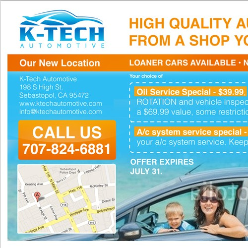 K-Tech Automotive needs a new postcard or flyer