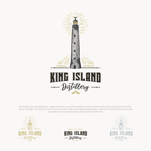Logo for King Island Distillery with a hand drawn illustration of Cape Wickham Lighthouse