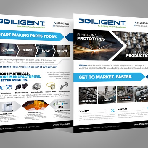 Create a clean and informative company/service overview one-pager for 3Diligent