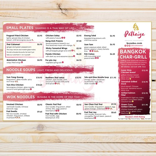 Menu Design for Pathaiya