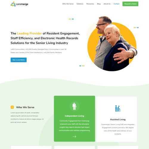 Landing page concept of elder care business