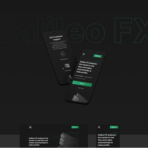 Dark themed website design for automated investing software.