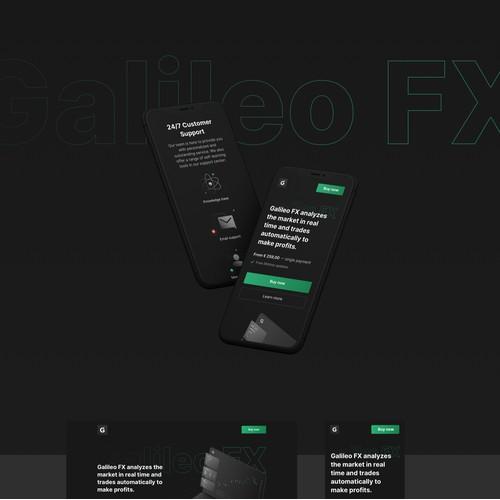 自动投资软件的黑暗主题网站设计。