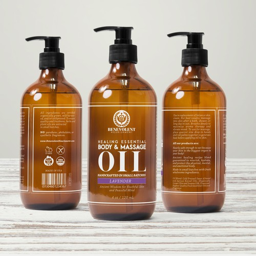 label for natural organic massage oil