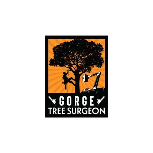 Retro style for arborist logo.