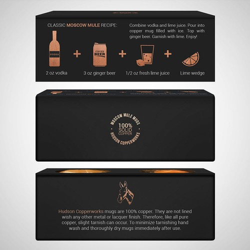 Box design for copper moscow mule mugs