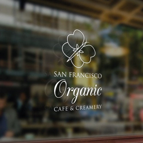 Organic Cafe and Creamery Logo That Floats