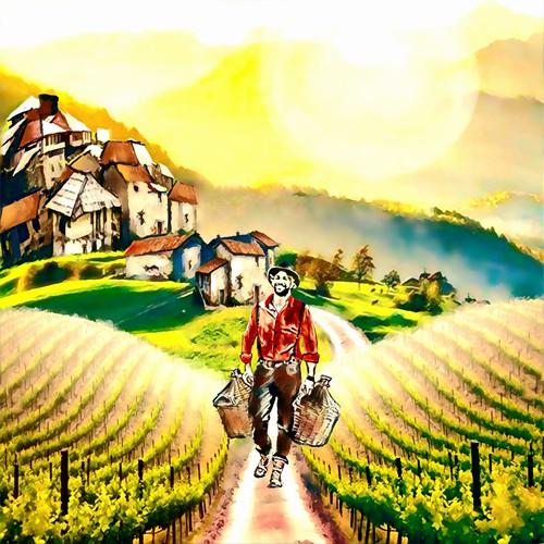 Illustration for a wine label design