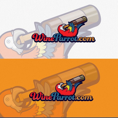 Cartoony logo featuring a parrot drinking wine!