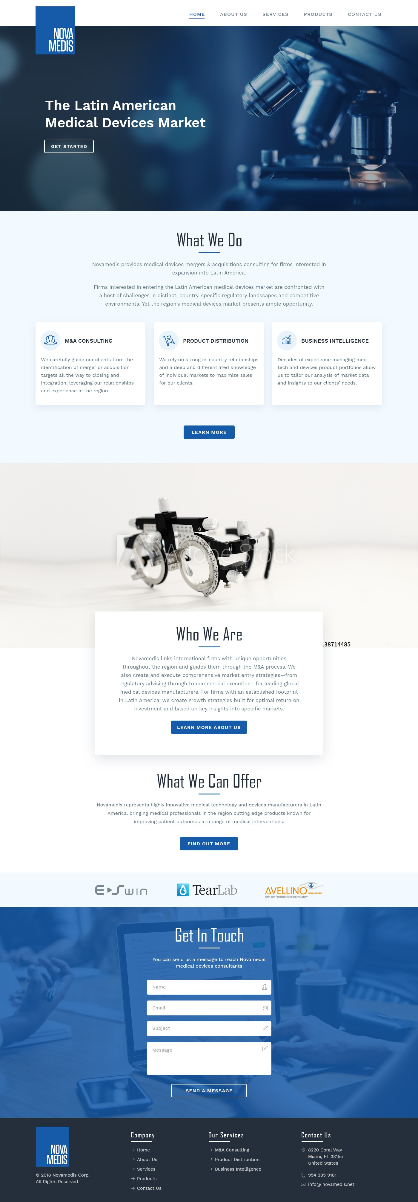Redesign a medical devices consulting page.