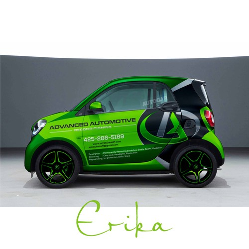 Smart car wrap for an automotive reconditioning shop