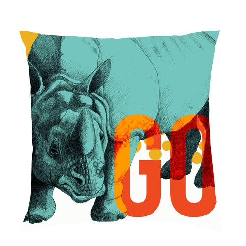 Rhino design for a pillow