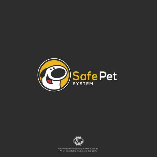 Funny dog character for Safe pet system logo