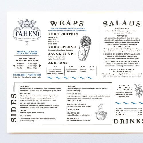 Menu Design For Taheni Mediterranean Grill