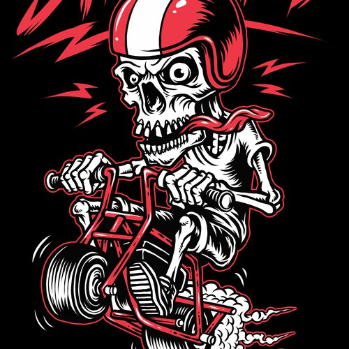Minibike themed t-shirt design in old school hotrod style graphic
