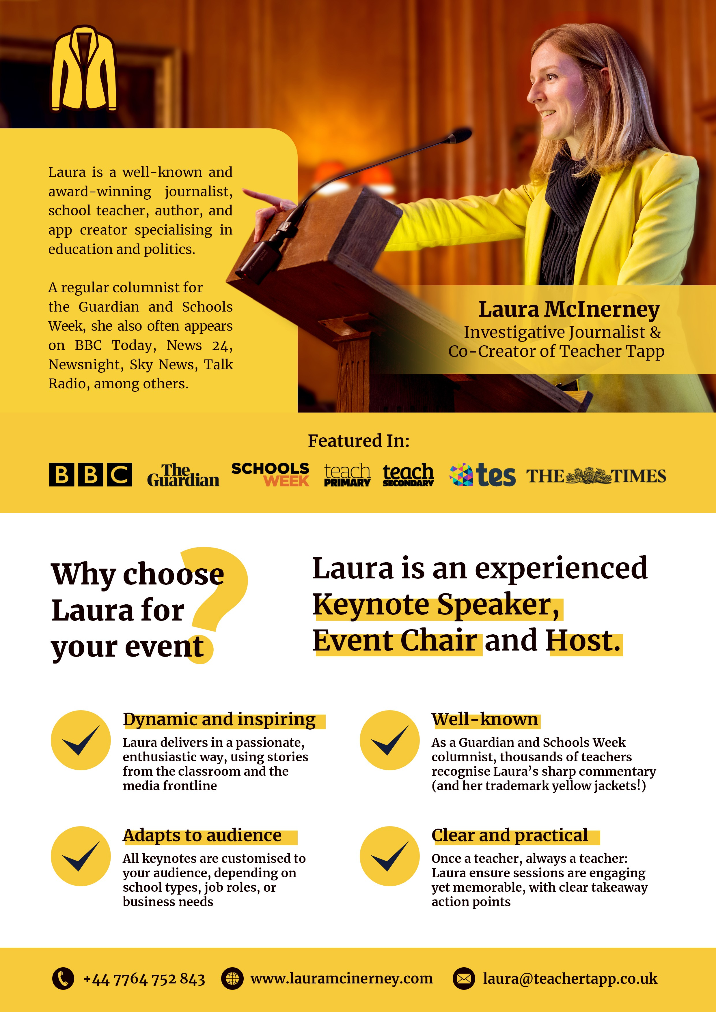 Improve a 2-page leaflet for my speaking business