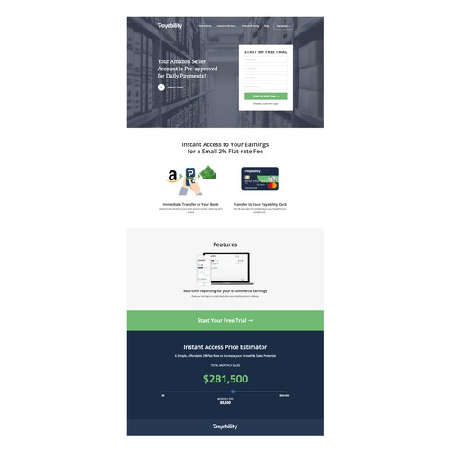 Landing page design for a payment service company
