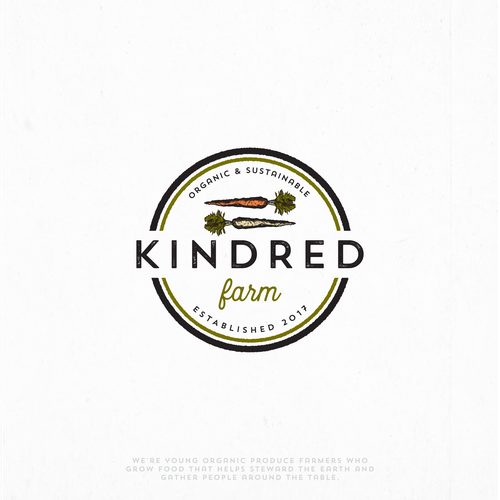 Vintage hand-drawn logo for Kindred farm