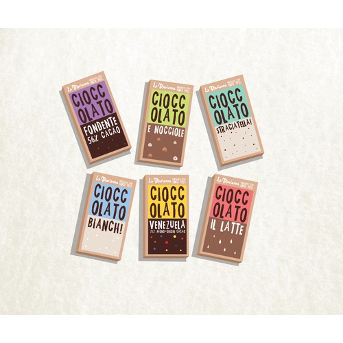 Create a new Packaging Wrapping for Italian CHOCOLATE BARS!