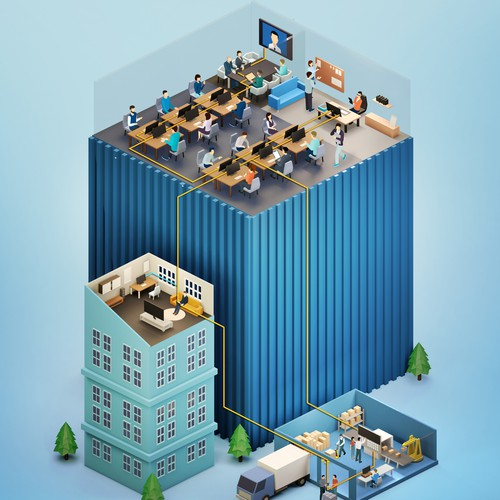 Isometric 3D Office buildings