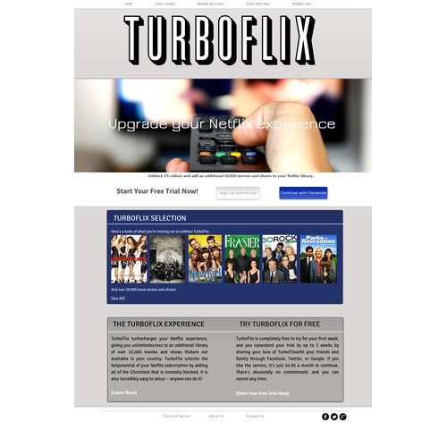 TurboFlix needs a homepage for its premium video streaming service