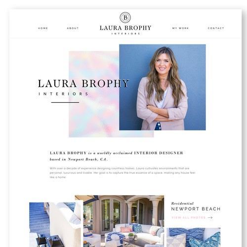 Bold website concept for stylish interior design company