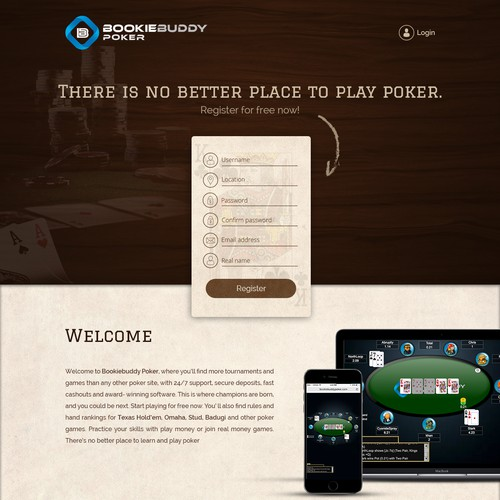 Landing page design for Bookiebuddy Poker