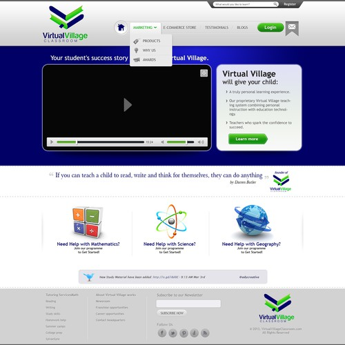 website design for virtual village classroom