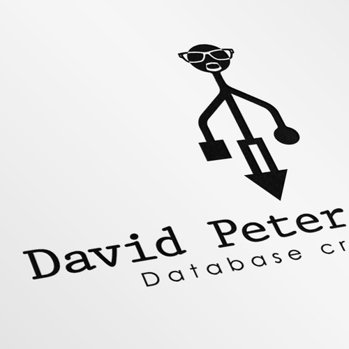 Modern, geeky, and playful logo for a database craftsman with a beard