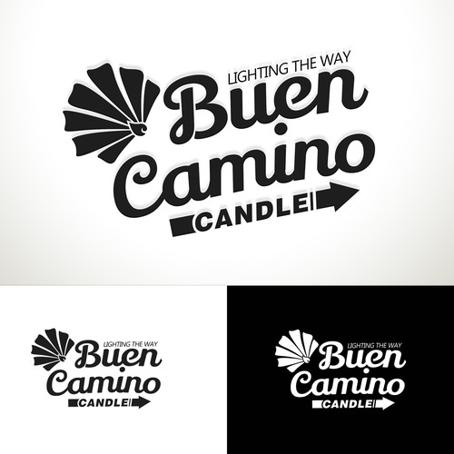 Create a stunning retro themed logo for Buen Camino Candle