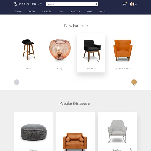 E-commerce website Landing page for Logged-in users
