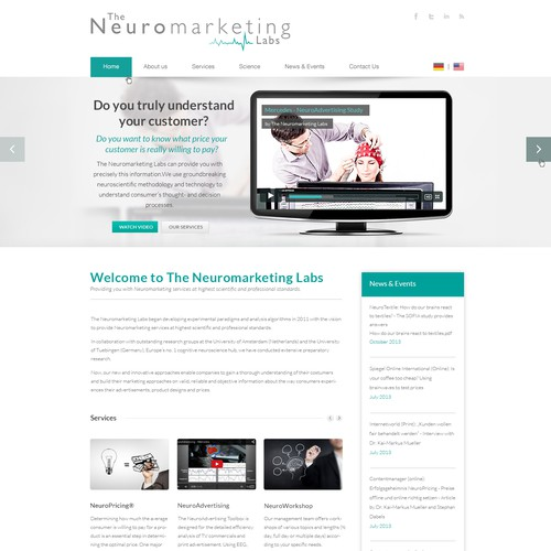 Create a fancy webdesign for a high tech brain scan laboratory, which tests marketing materials