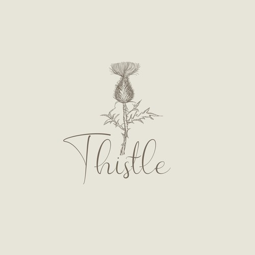 Thistle image and text logo for jewelry business